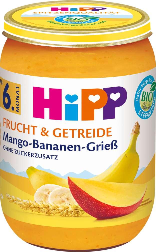 Abbildung des Sortimentsartikels Hipp Frucht+Getreide Mango/Banane/Grieß ab 6. Monat 190g