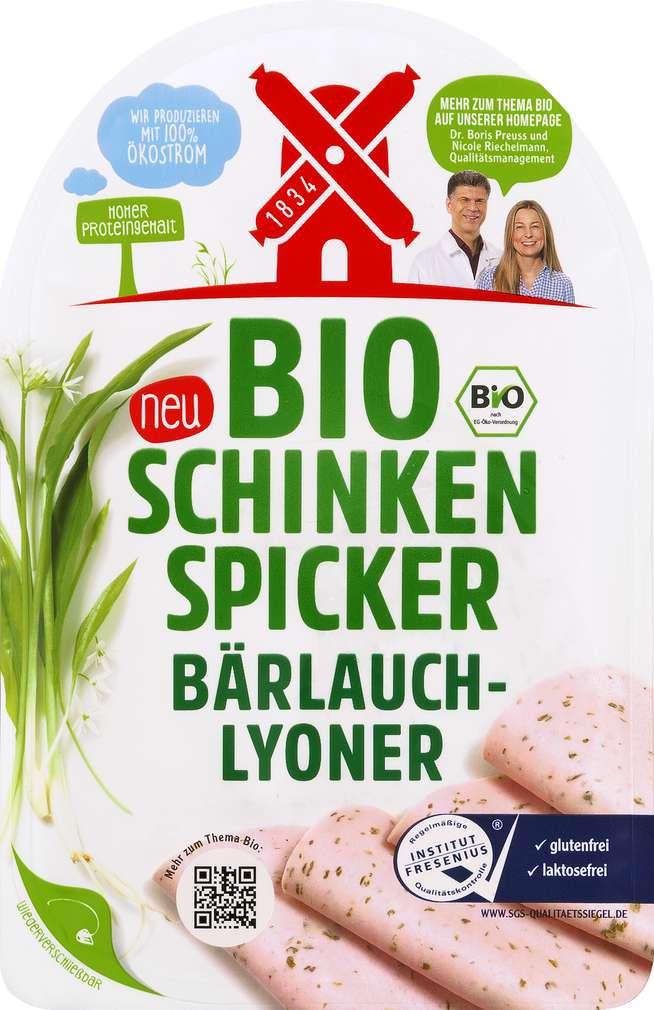 Abbildung des Sortimentsartikels Rügenwalder Mühle Bio Schinken Spicker Bärlauch-Lyoner 80g