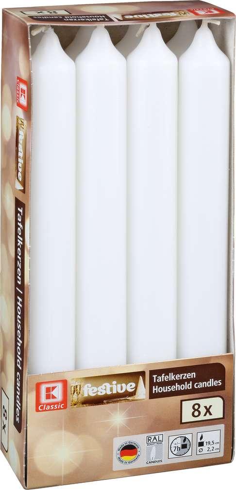 Abbildung des Sortimentsartikels K-Classic Tafelkerzen weiß 8 Stück