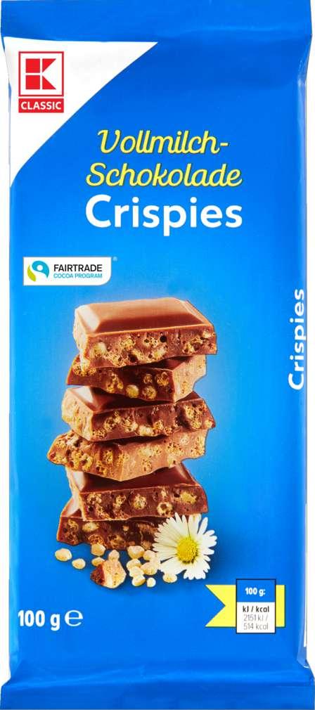 Abbildung des Sortimentsartikels K-Classic Schokolade Vollmilch mit Crisp 100g