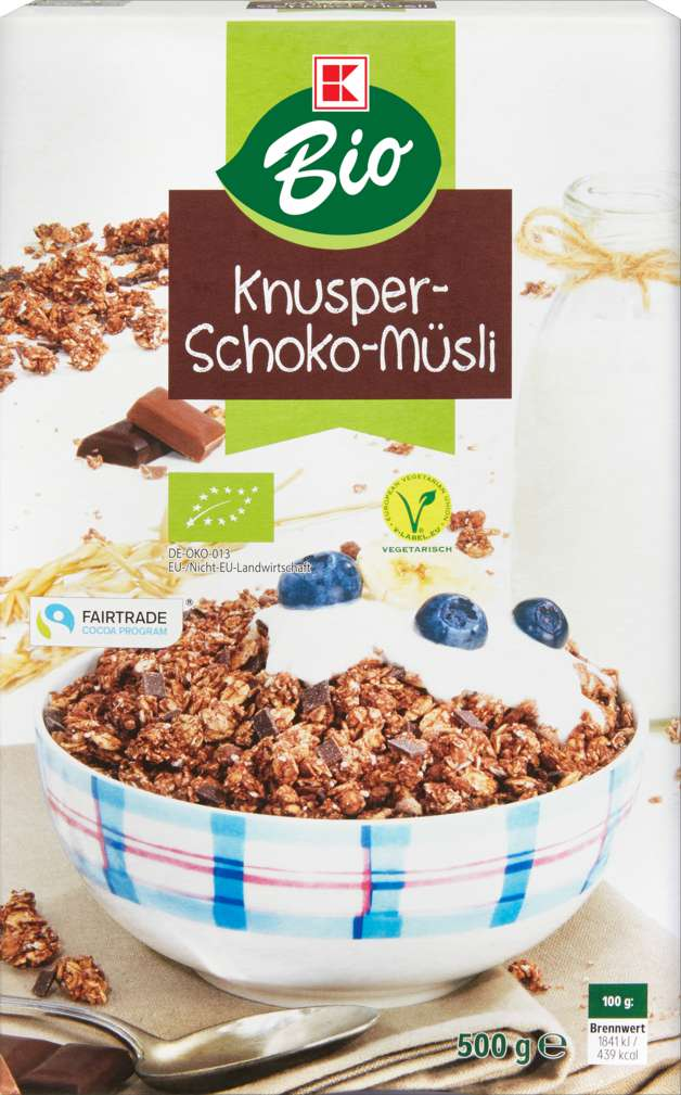 Abbildung des Sortimentsartikels K-Bio Knusper Schoko-Müsli 500g