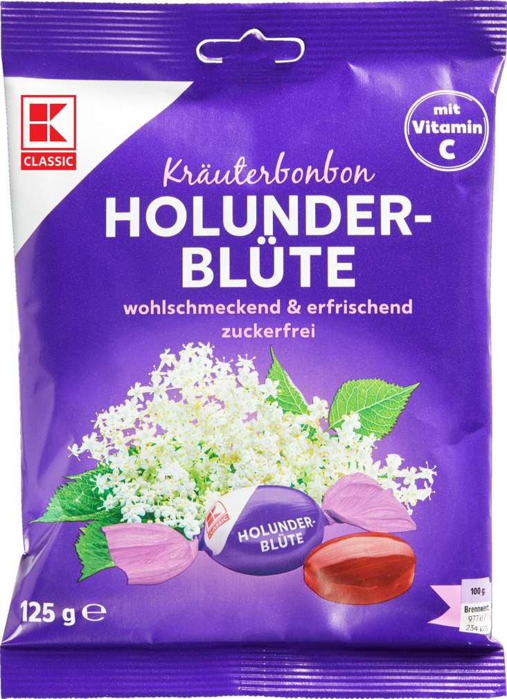 Abbildung des Sortimentsartikels K-Classic Kräuter-Holunderblüte Bonbons 125g