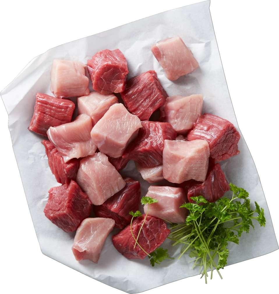 Abbildung des Sortimentsartikels  Gulasch gemischt von Schwein und Rind
