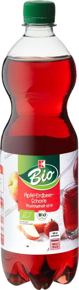 Abbildung des Sortimentsartikels K-Bio Apfel-Erdbeerschorle 0,75l