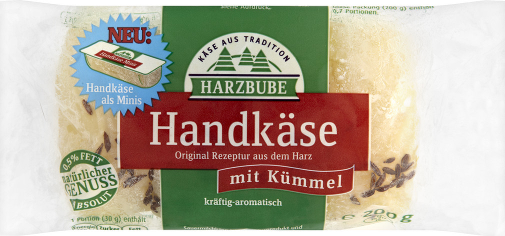 Abbildung des Sortimentsartikels Harzbube Handkäse mit Kümmel kräftig-aromatisch 200g