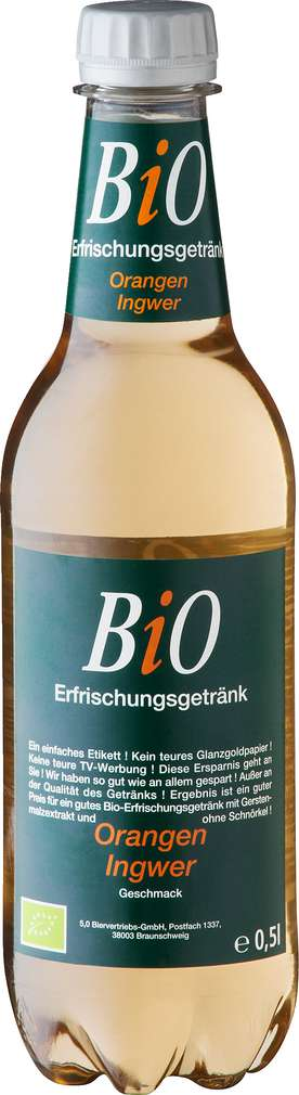 Abbildung des Sortimentsartikels Bio Erfrischungsgetränk Orange-Ingwer 0,5l