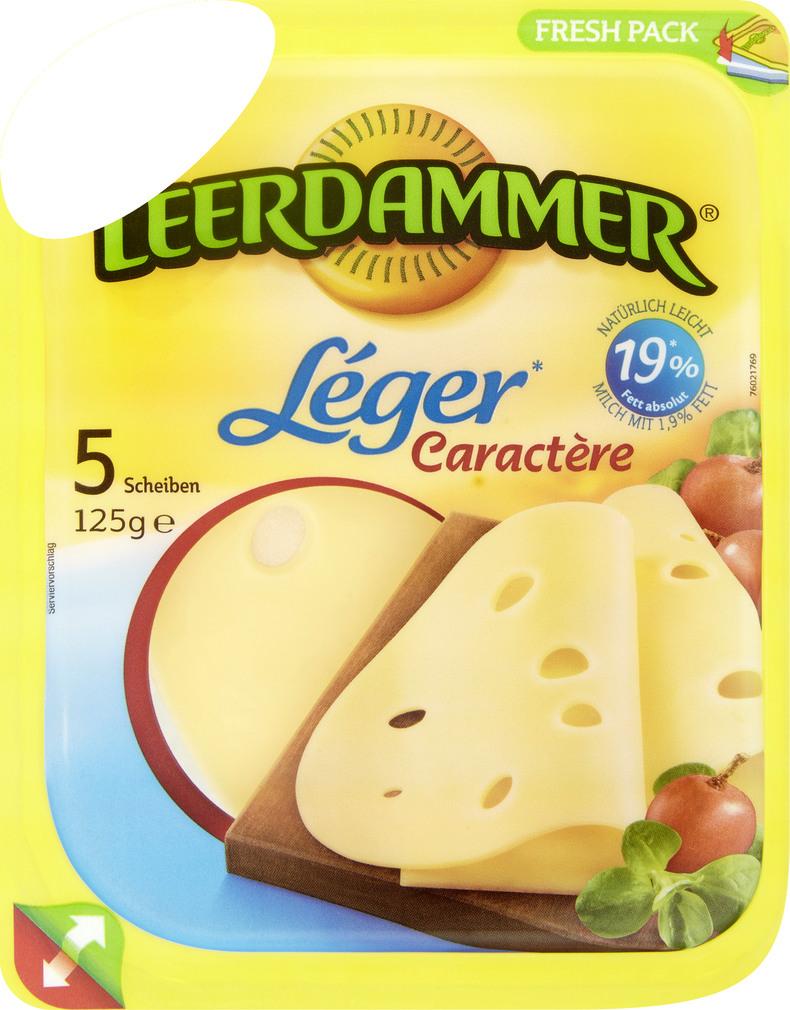 Abbildung des Sortimentsartikels Leerdammer Léger Caractère 5 Scheiben 125g