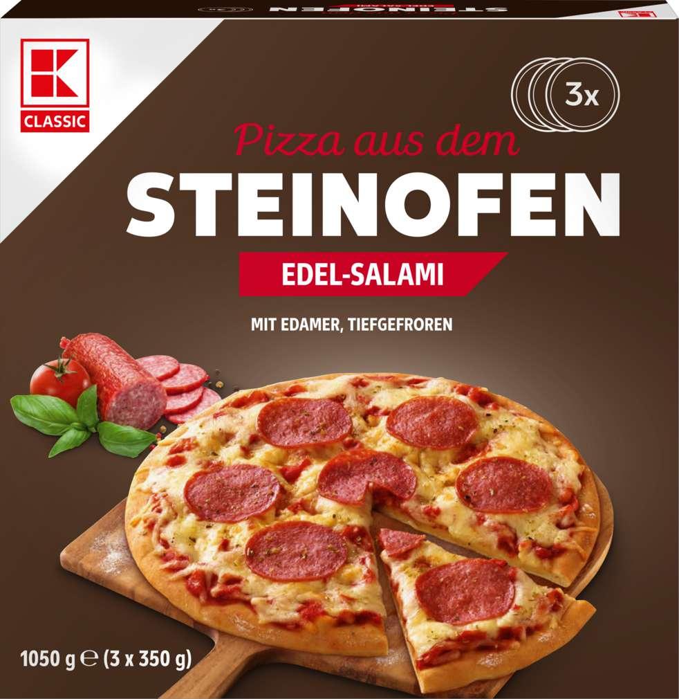 Abbildung des Sortimentsartikels K-Classic Steinofen-Pizza Edelsalami 3x350g