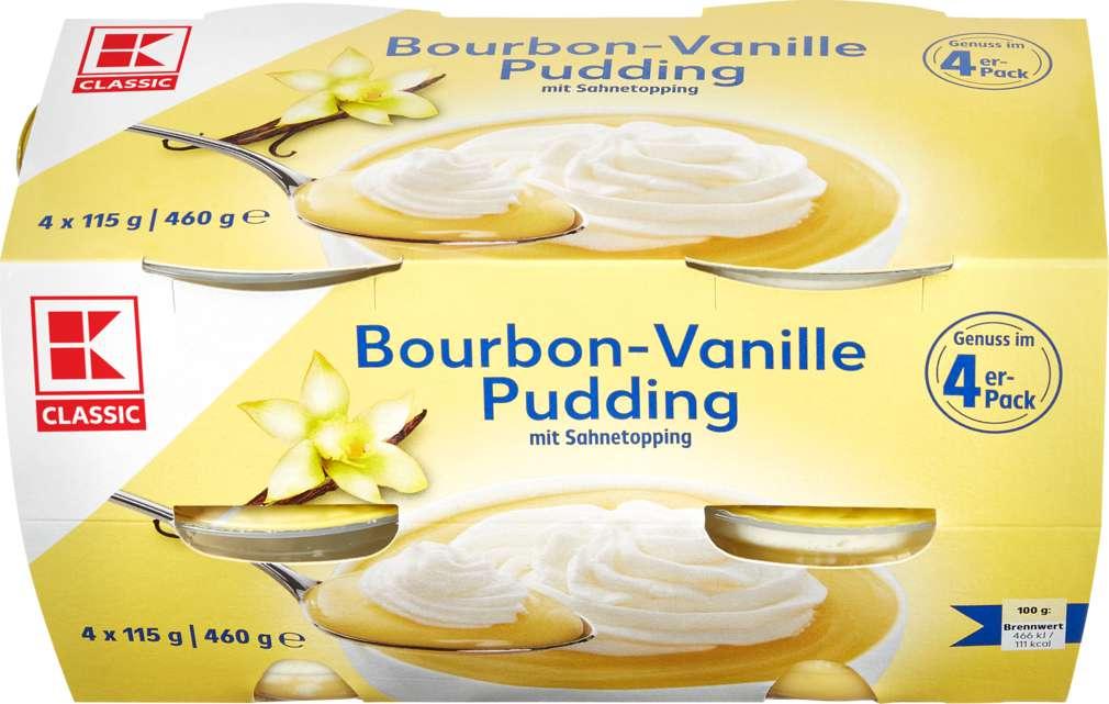 Abbildung des Sortimentsartikels K-Classic Vanillepudding mit Sahnetopping 4x115g
