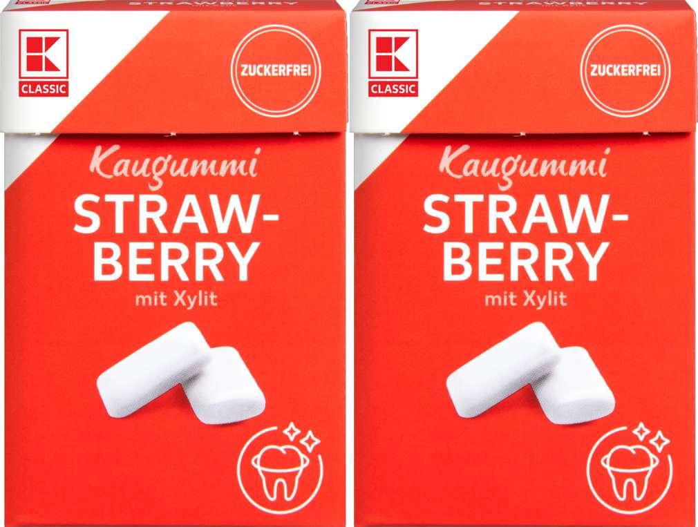 Abbildung des Sortimentsartikels K-Classic Chewing Gum Erdbeer, ohne Zucker 2x36g