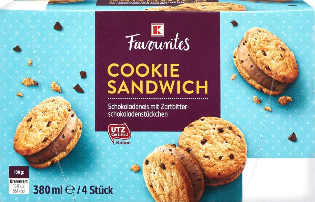 Abbildung des Sortimentsartikels K-Favourites American Ice Cookie Sandwich 4x95ml