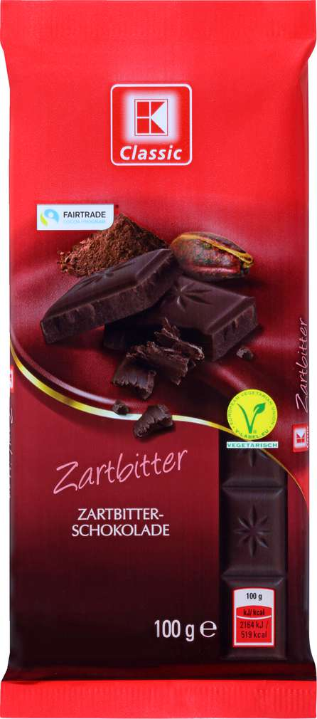 Abbildung des Sortimentsartikels K-Classic Schokolade Zartbitter 100g
