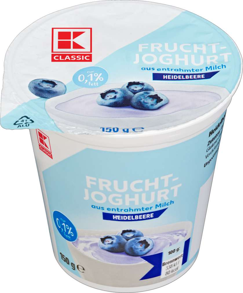 Abbildung des Sortimentsartikels K-Classic Fruchtjoghurt Heidelbeere 0,1% 150g