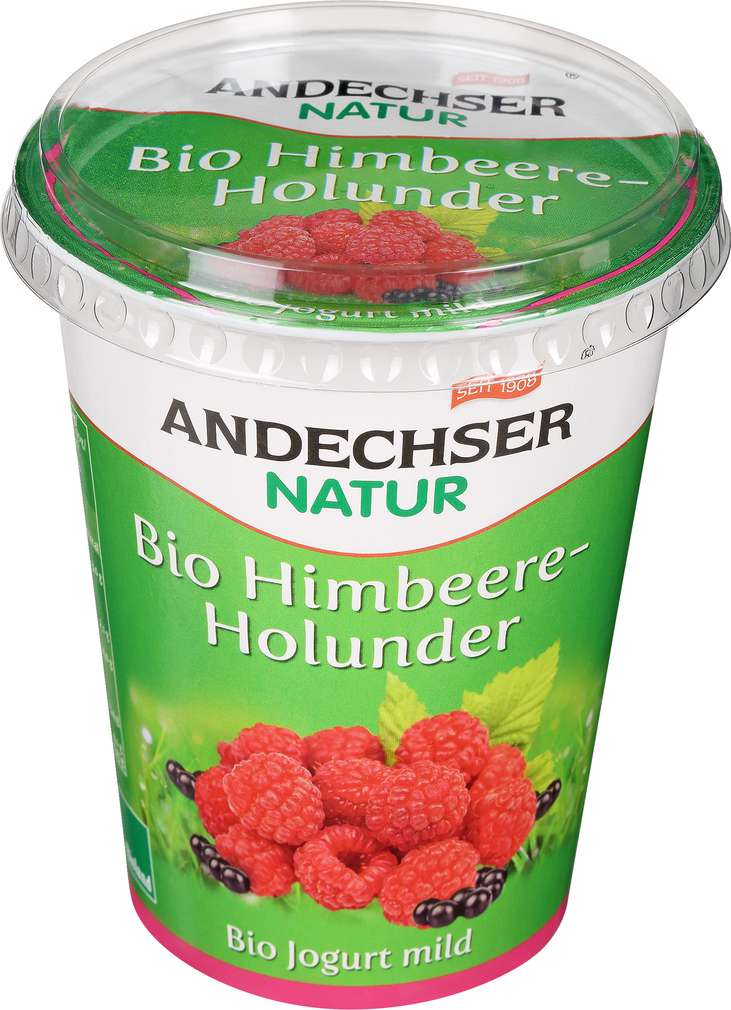 Abbildung des Sortimentsartikels Andechser Bio-Jogurt mild Himbeere-Holunder 400g