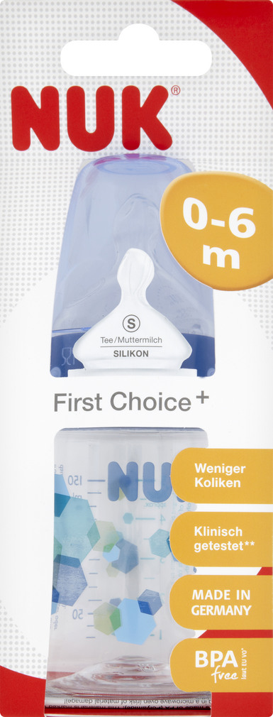 Abbildung des Sortimentsartikels Nuk First Choice+ Trinkflasche mit Sauger aus Silikon S 150ml