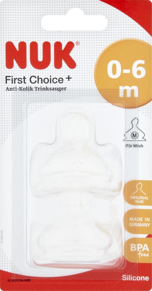 Abbildung des Sortimentsartikels Nuk First Choice+ Anti-Kolik-Trinksauger Silikon Größe 1 M 2 Stück