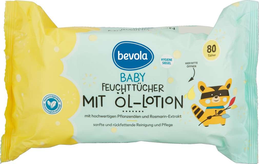 Abbildung des Sortimentsartikels Bevola Baby Feuchttücher Öl-Lotiontücher 80 Stück