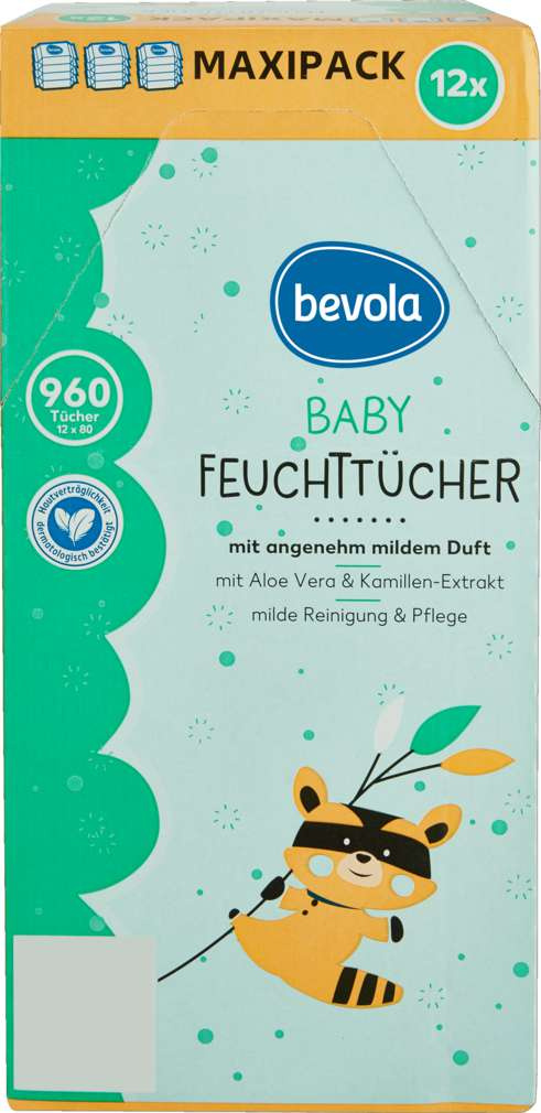 Abbildung des Sortimentsartikels Bevola Baby Feuchttücher Mild 12x80 Stück