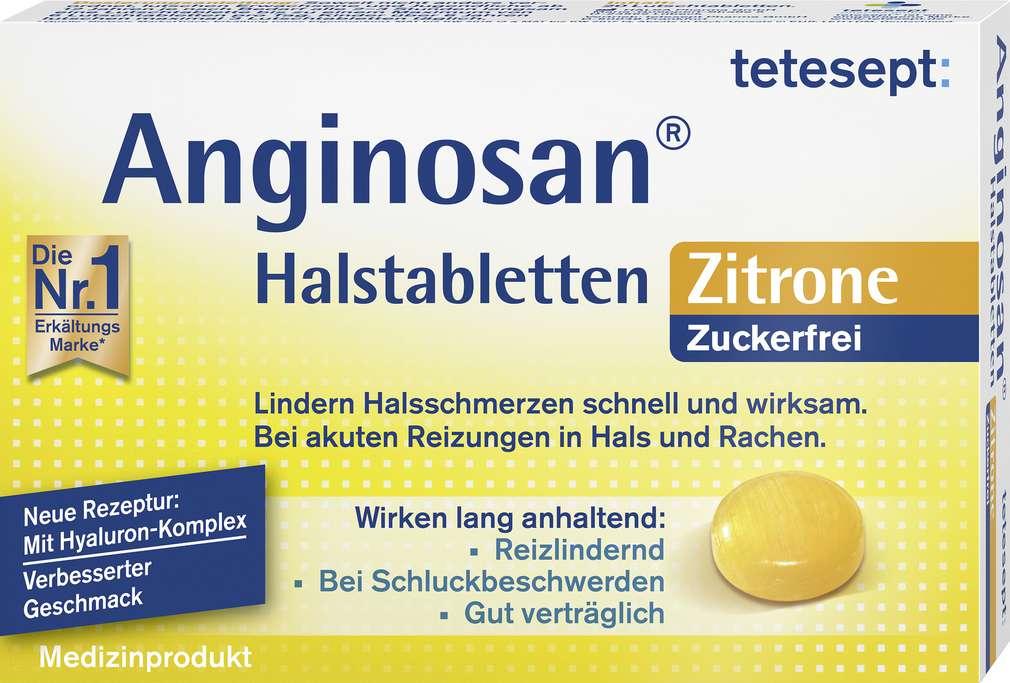 Abbildung des Sortimentsartikels Tetesept Anginosan Zitrone zuckerfrei 20 Stück
