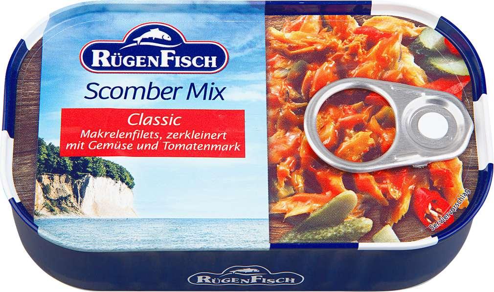 Abbildung des Sortimentsartikels RügenFisch Scomber Mix Makrelenfilets mit Gemüse und  Tomatenmark 120g