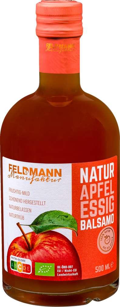 Abbildung des Sortimentsartikels Feldmann Manufaktur Bio Natur Apfelessig Balsamo 500ml