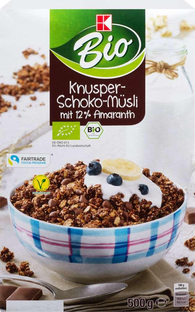 Abbildung des Sortimentsartikels K-Bio Müsli Amaranth/Knu.-Schoko 500g