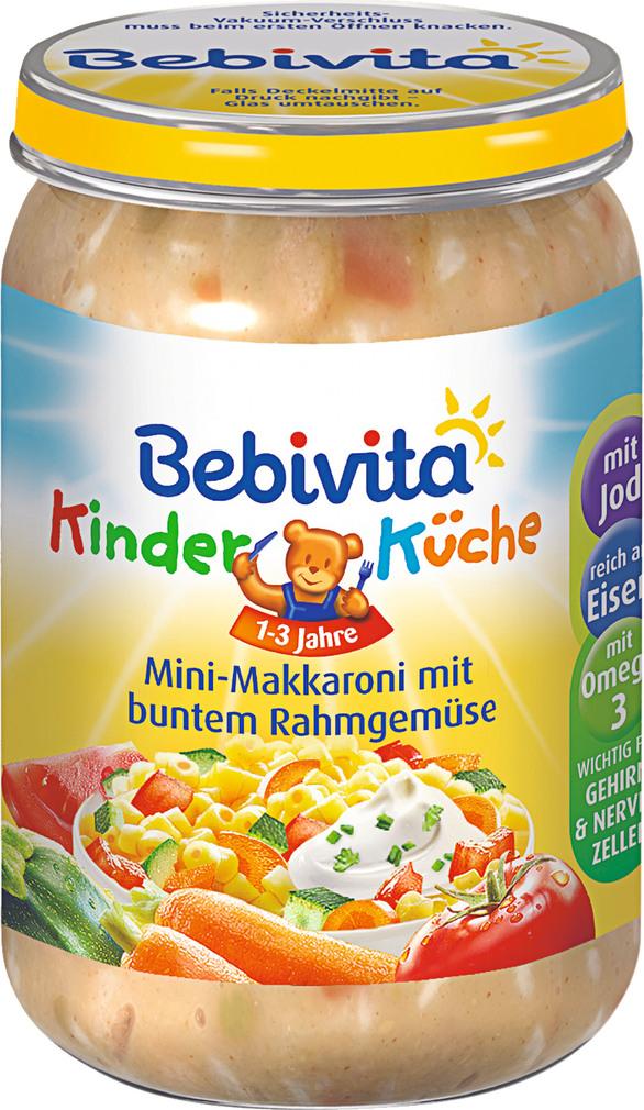 Abbildung des Sortimentsartikels Bebivita Kinder Küche Mini-Makkaroni mit buntem Rahmgemüse 250g