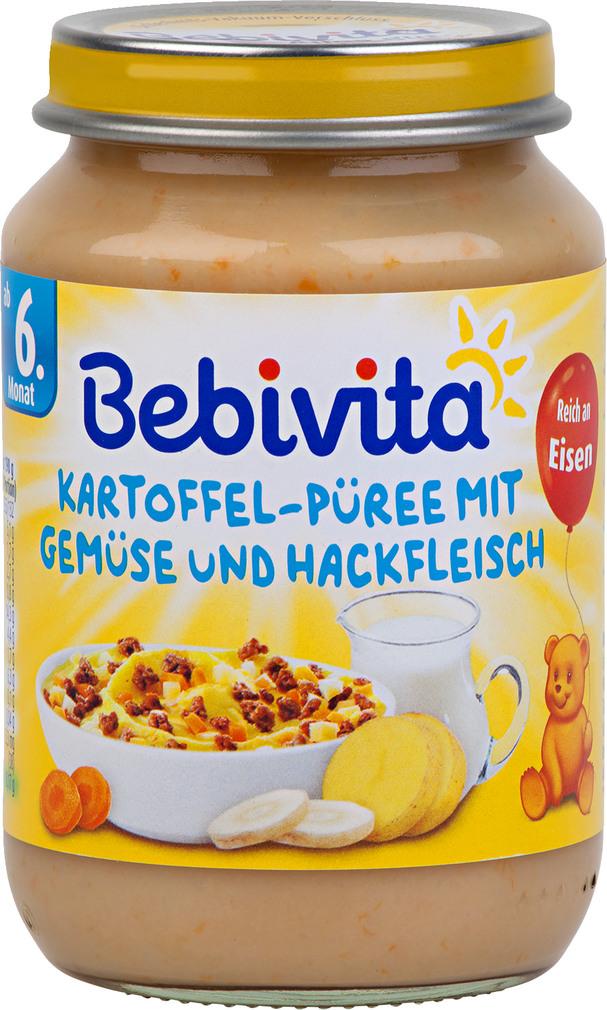 Abbildung des Sortimentsartikels Bebivita Kartoffel-Püree mit Gemüse und Rindfleisch 190g