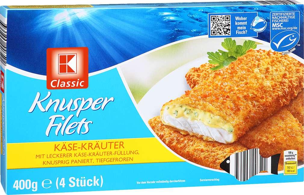 Abbildung des Sortimentsartikels K-Classic Knusperfilet Käse-Kräuter 400g, 4 Stück