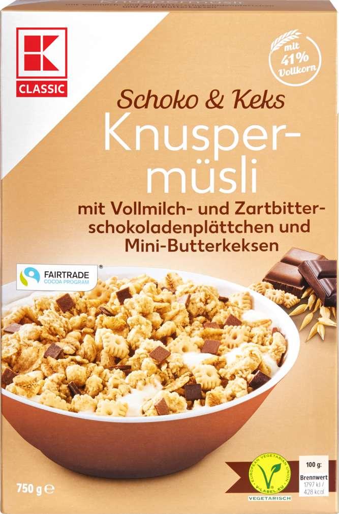 Abbildung des Sortimentsartikels K-Classic Knusper Müsli Schoko-Butterkeks 750g