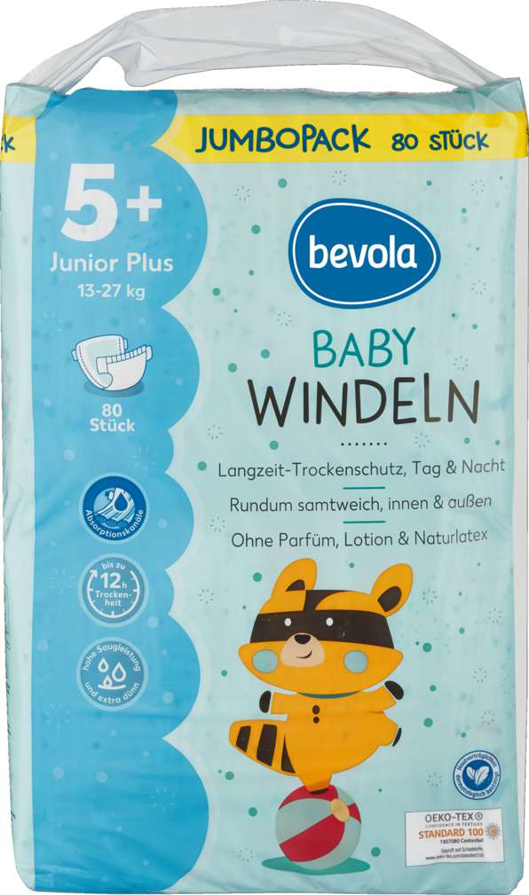 Abbildung des Sortimentsartikels Bevola Windel Junior Plus Jumbopack 80 ST