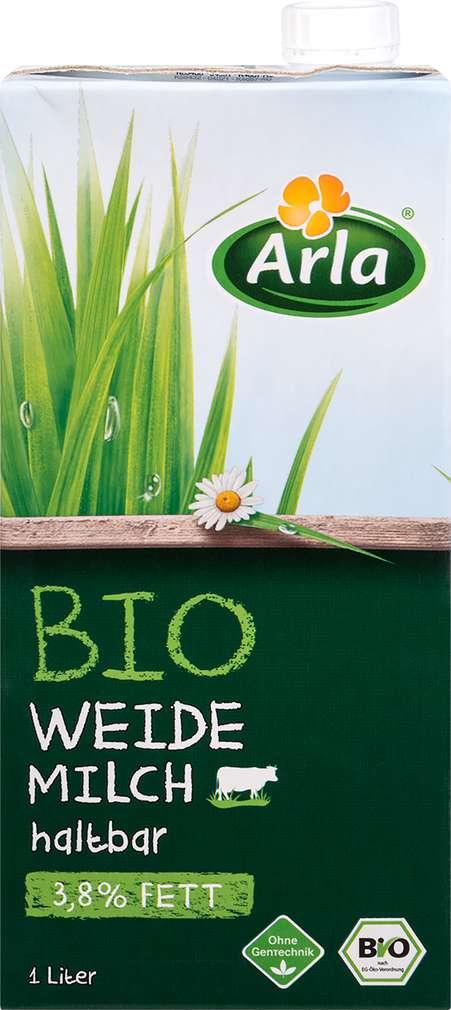 Abbildung des Sortimentsartikels Arla Bio H-Weidemilch haltbar 3,8% 1l