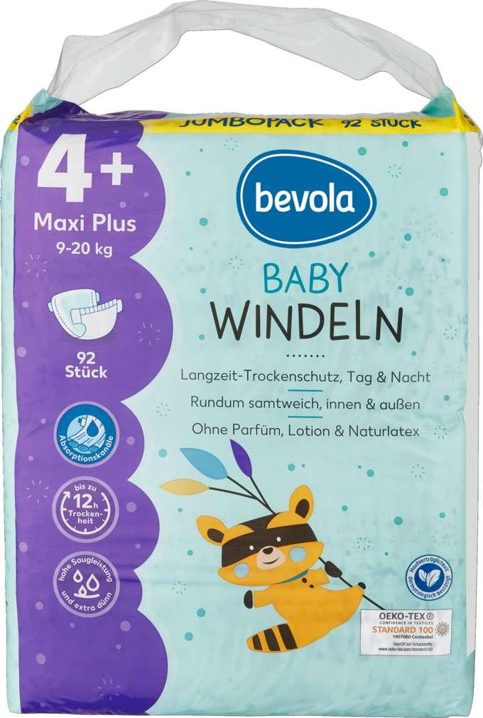 Abbildung des Sortimentsartikels Bevola Windeln Maxi Plus Jumbopack 92 St