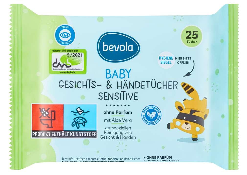 Abbildung des Sortimentsartikels Bevola Baby Feuchttücher Gesicht & Hände 25 Stück