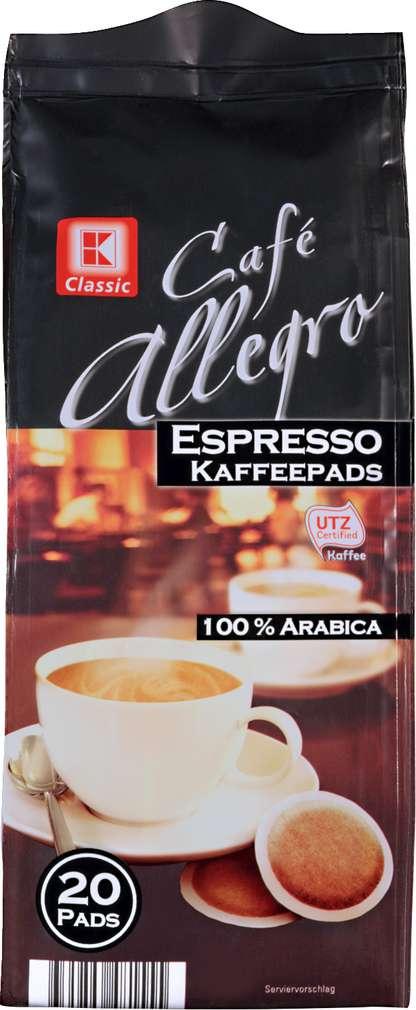 Abbildung des Sortimentsartikels K-Classic Cafe Allegro Espresso 20 Pads 144g