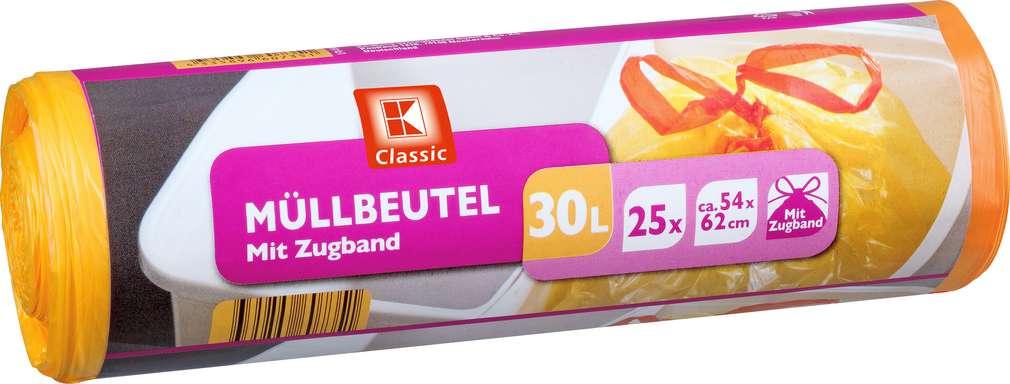 Abbildung des Sortimentsartikels K-Classic Müllbeutel mit Zugband 30l 25 Stück