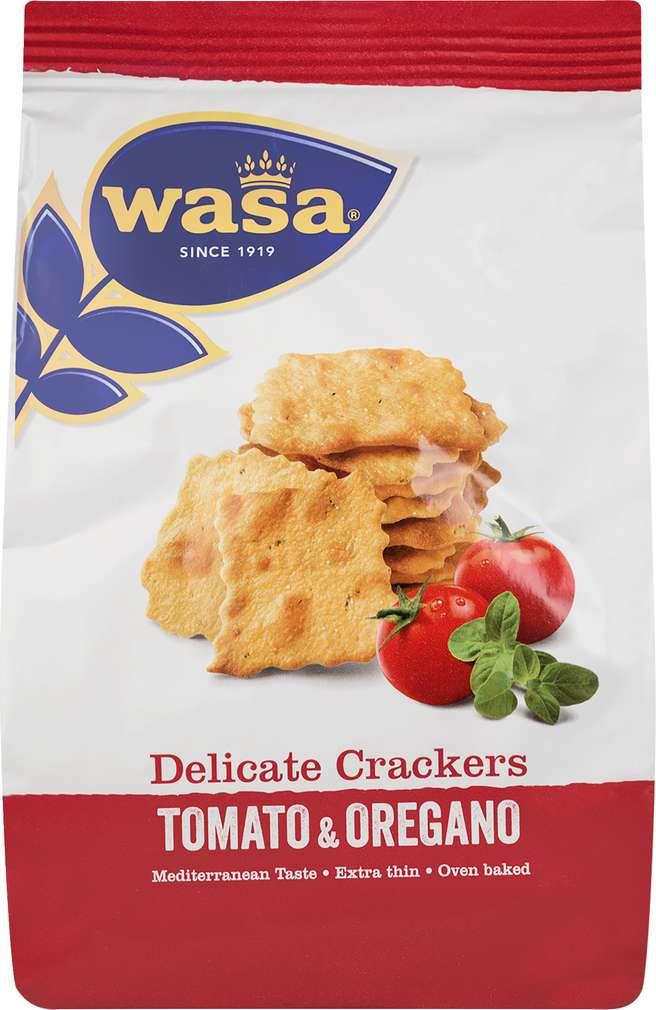 Abbildung des Sortimentsartikels Wasa Delicate Crackers Tomato & Oregano 160g