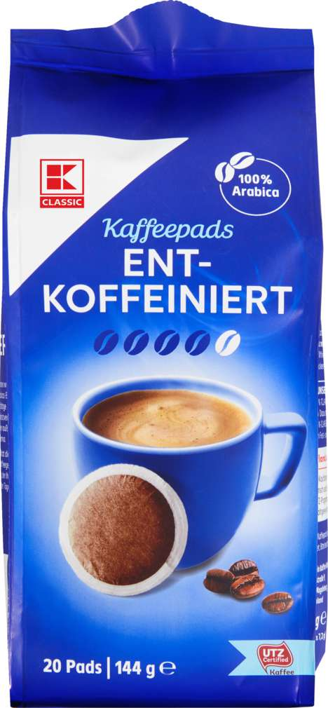 Abbildung des Sortimentsartikels K-Classic Café Allegro Pads entkoffeiniert 144g, 20 Stück