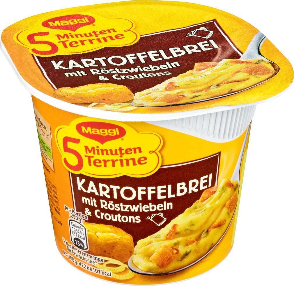 Abbildung des Sortimentsartikels Maggi 5 Minuten Terrine Kartoffelbrei mit Röstzwiebeln & Croutons 56g