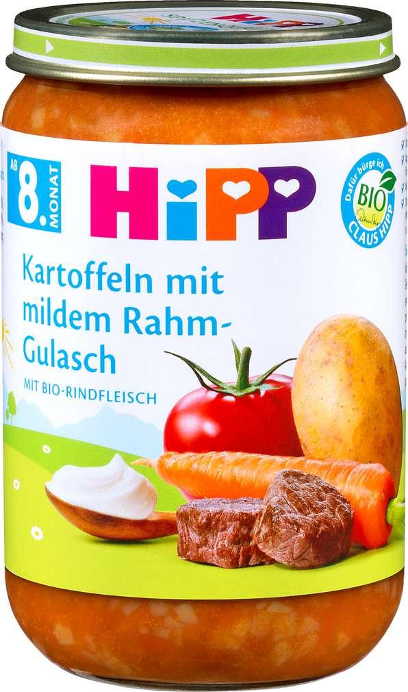 Abbildung des Sortimentsartikels Hipp Kartoffeln mit mildem Rahm-Gulasch mit Bio-Rindfleisch