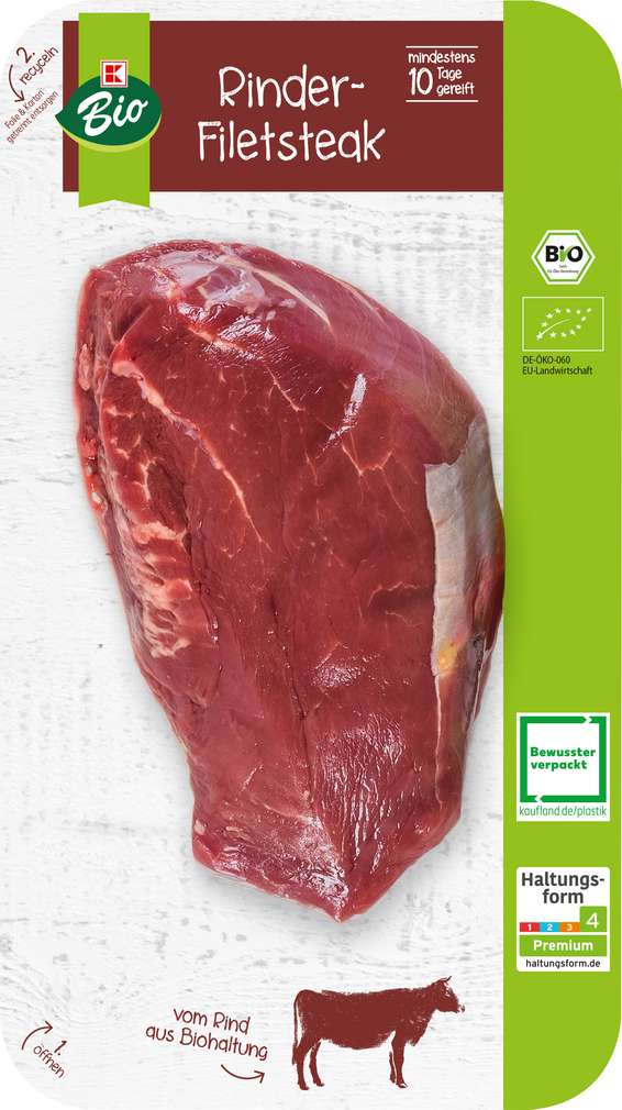 Abbildung des Sortimentsartikels K-Bio Bio Rinderfilet Steak