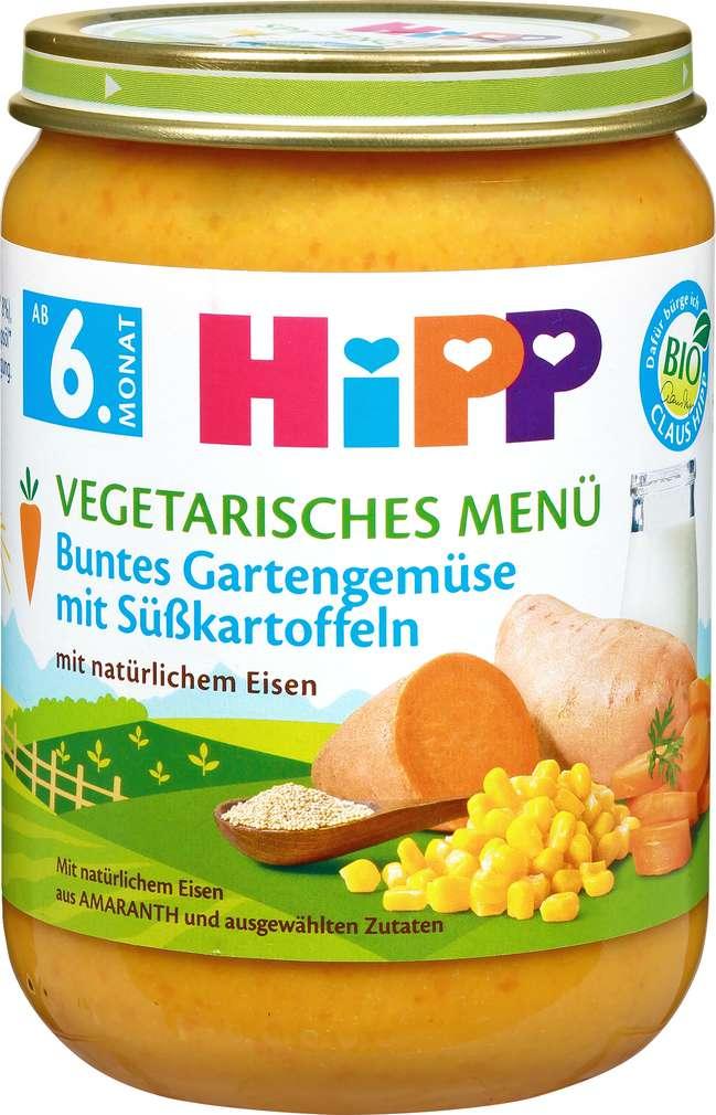 Abbildung des Sortimentsartikels Hipp Vegetarisches Menü Gartengemüse mit Süßkartoffeln 190g
