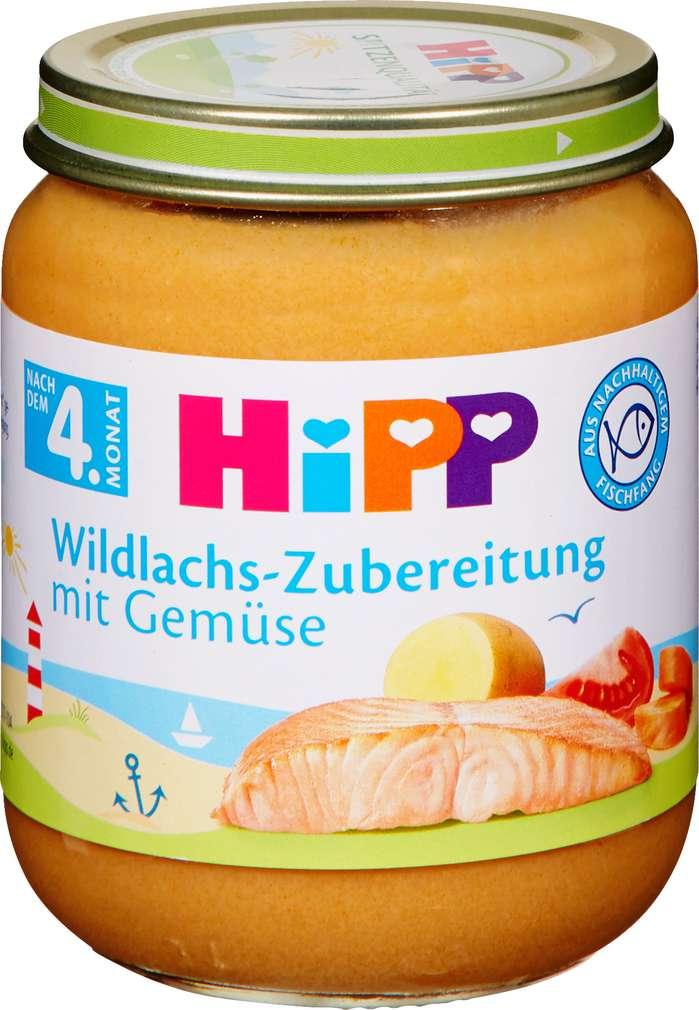 Abbildung des Sortimentsartikels Hipp Wildlachs-Zubereitung mit Gemüse, fein püriert 125g