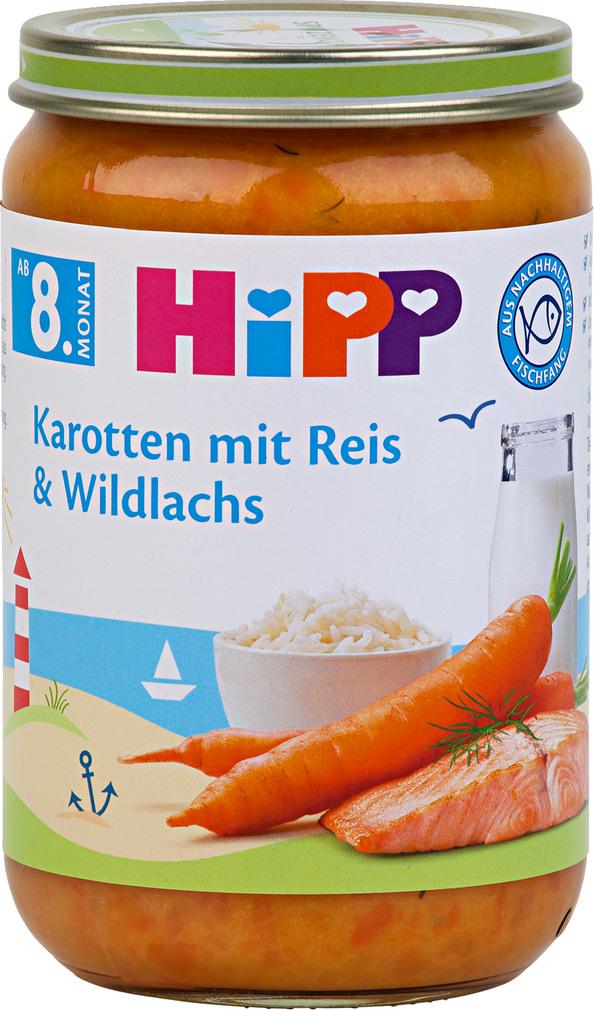 Abbildung des Sortimentsartikels Hipp Karotten mit Reis und Wildlachs