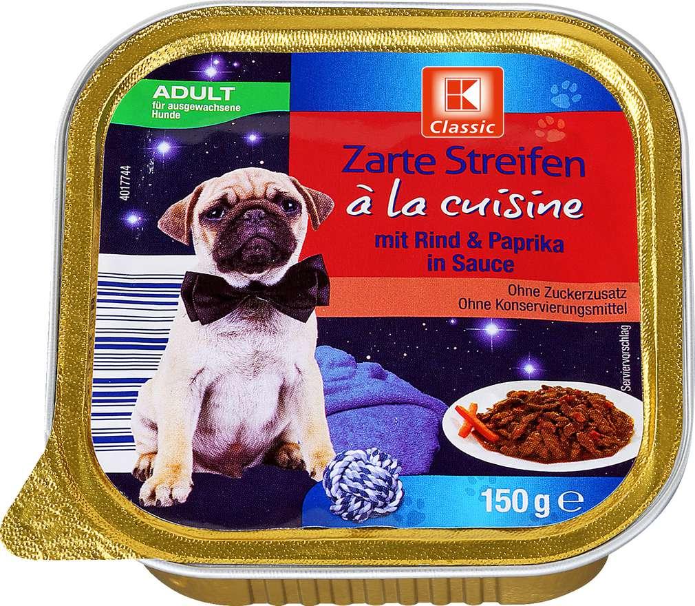 Abbildung des Sortimentsartikels K-Classic Nassfutter für Hunde Zarte Streifen Rind & Paprika 150g