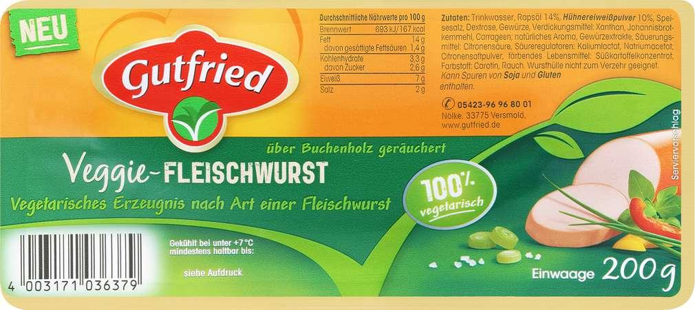 Abbildung des Sortimentsartikels Gutfried Veggie Fleischwurst 200g