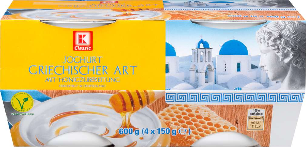 Abbildung des Sortimentsartikels K-Classic Joghurt griechischer Art mit Honigzubereitung 4x150g