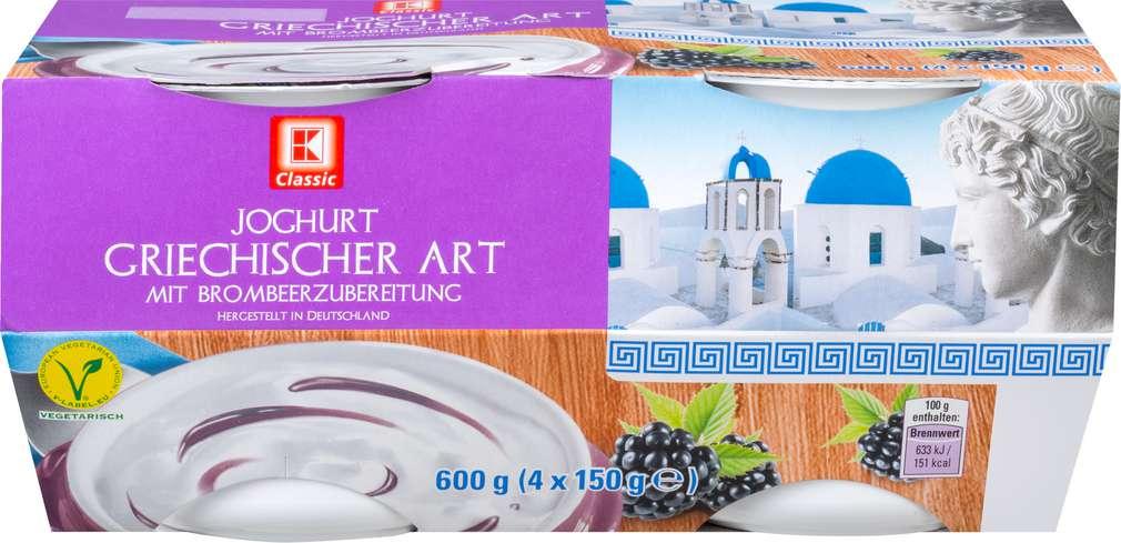 Abbildung des Sortimentsartikels K-Classic Joghurt griechischer Art mit Brombeerzubereitung 4x150g