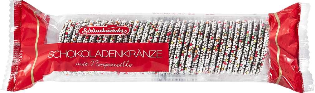 Abbildung des Sortimentsartikels Schluckwerder Schokoladenkränze mit Nonpareille 200g