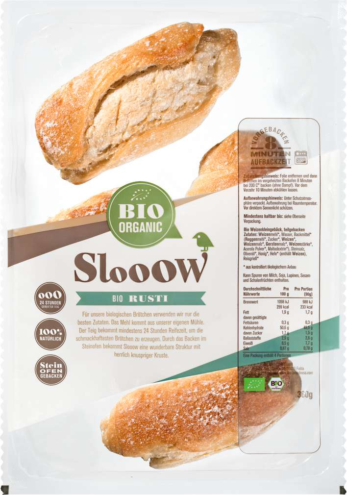 Abbildung des Sortimentsartikels Slooow Bio Brötchen Rusti 360g, 4 Stück